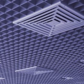 Ceiling with the built in illumination and the hatch for ventilation.